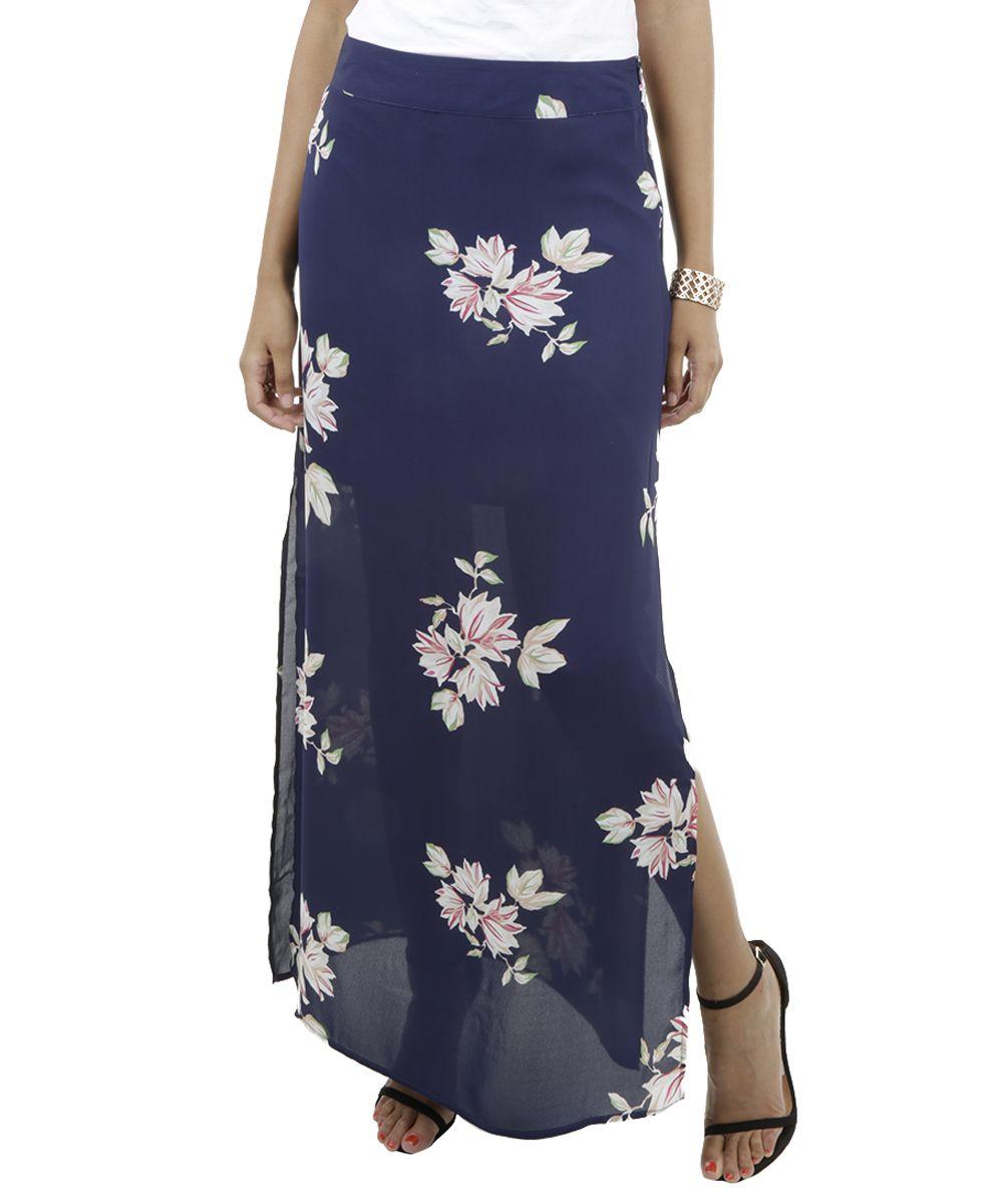 a9d4bd23b7 Saia Longa Floral Azul Marinho - cea