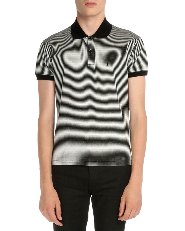 c47337fdd Yves Saint Laurent Striped Logo Short-Sleeve Polo Shirt, Black/Blue, Men's,  Size: XX-LARGE, Black Stripes
