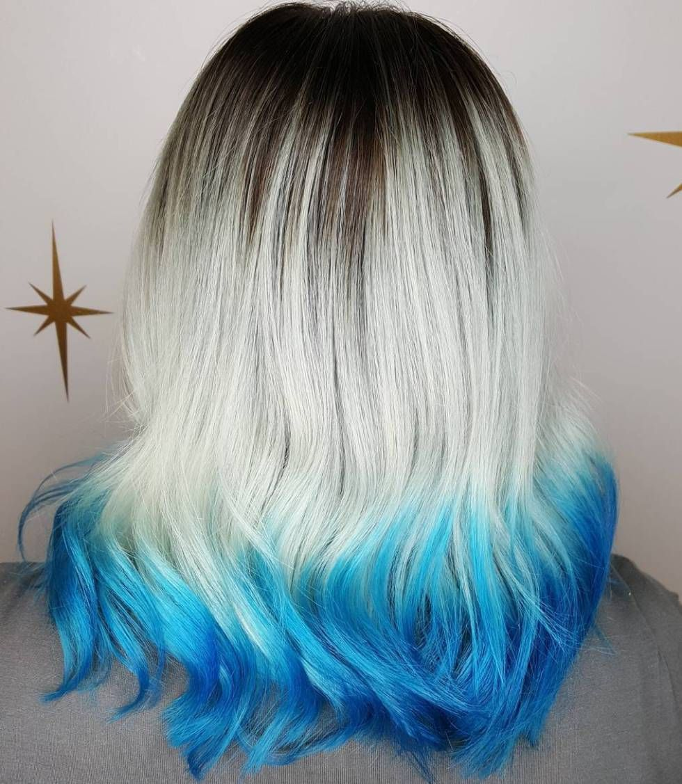 40 Fairy Like Blue Ombre Hairstyles With Images Blonde Dip Dye
