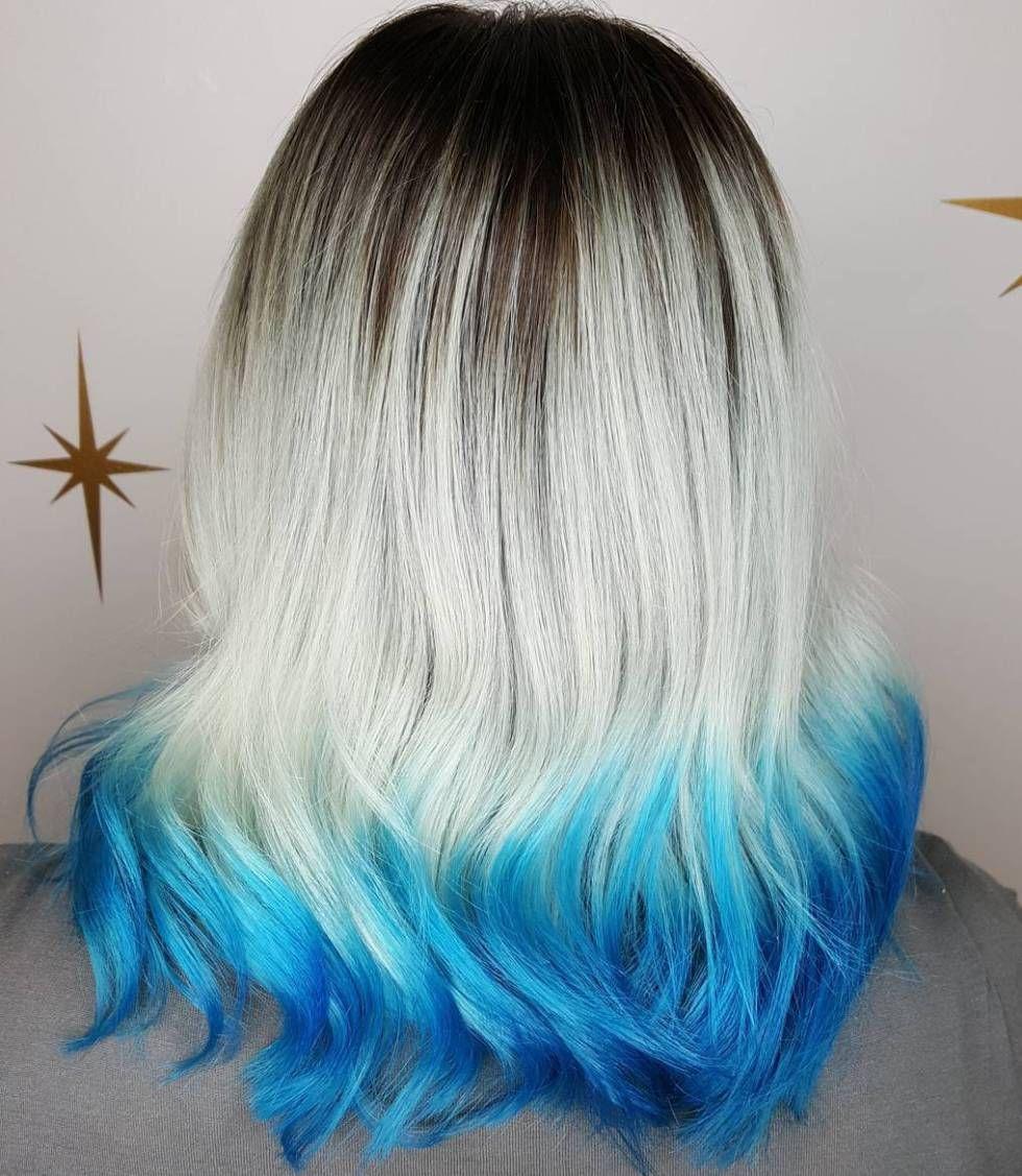 40 Fairy Like Blue Ombre Hairstyles Blonde Dip Dye Dip Dye Hair