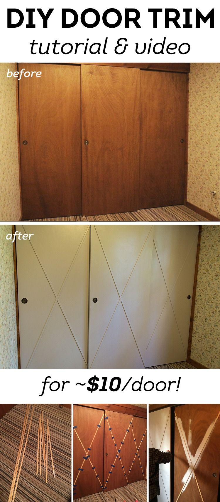 Simple Trim And Fresh Paint Takes Closet Doors From Dull And Outdated To Modern And Stylish Click This Pin Door Makeover Diy Diy Closet Doors Old Closet Doors