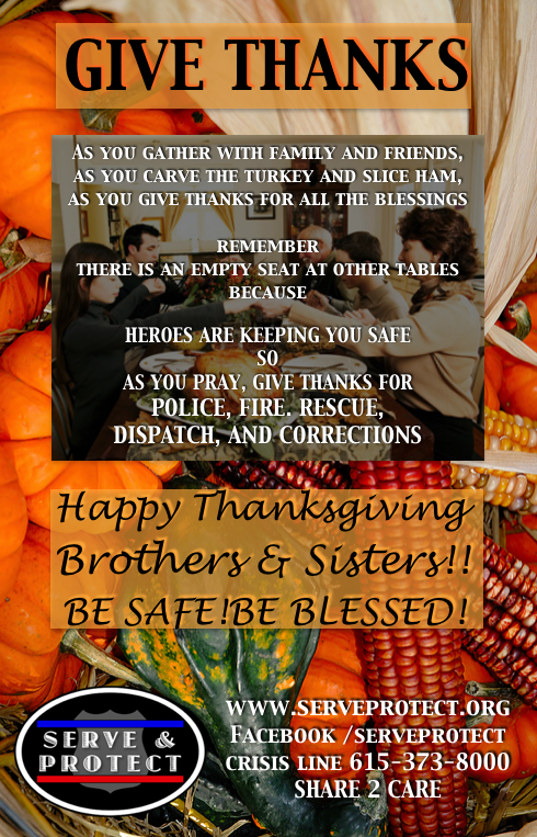 Give thanks for first responders working while we enjoy