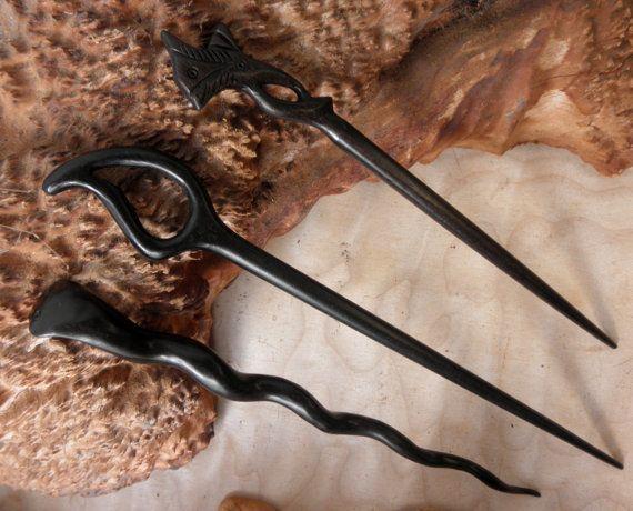 3 Different Decorative Ebony Handmade Hair by OverTheHawaiianMoon