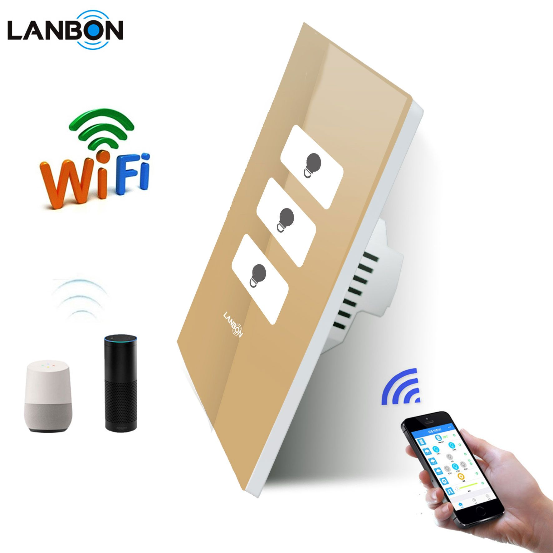 Smart Home Light Switch 3 Gang 2 Way 3 Way Wifi Switch Remote Control By App Google Home Amazon Echo Alexa Touch Wall Sw Smart Switches Smart Home Light Switch