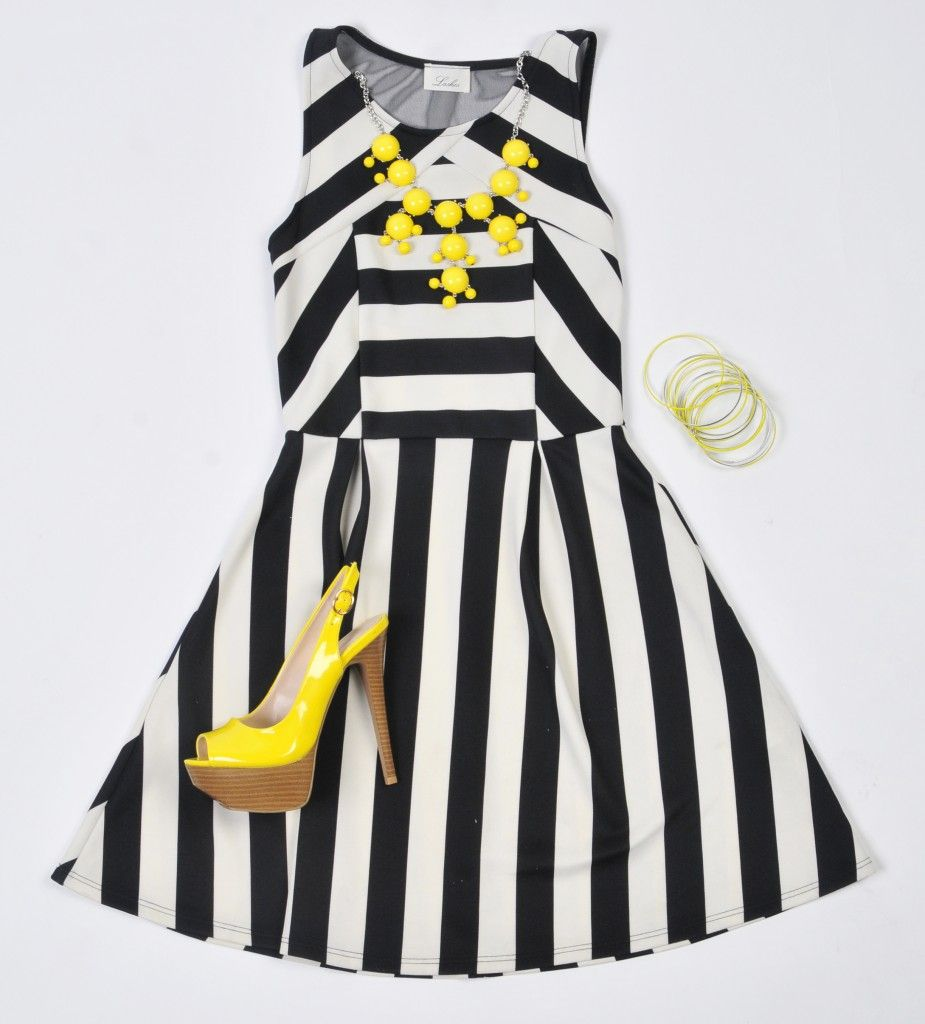 Black dress yellow accessories - Yellow Black And White Dress Re Re