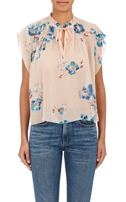 ULLA JOHNSON Saadi Floral-Print Silk Georgette Tieneck Blouse. #ullajohnson #cloth #blouse