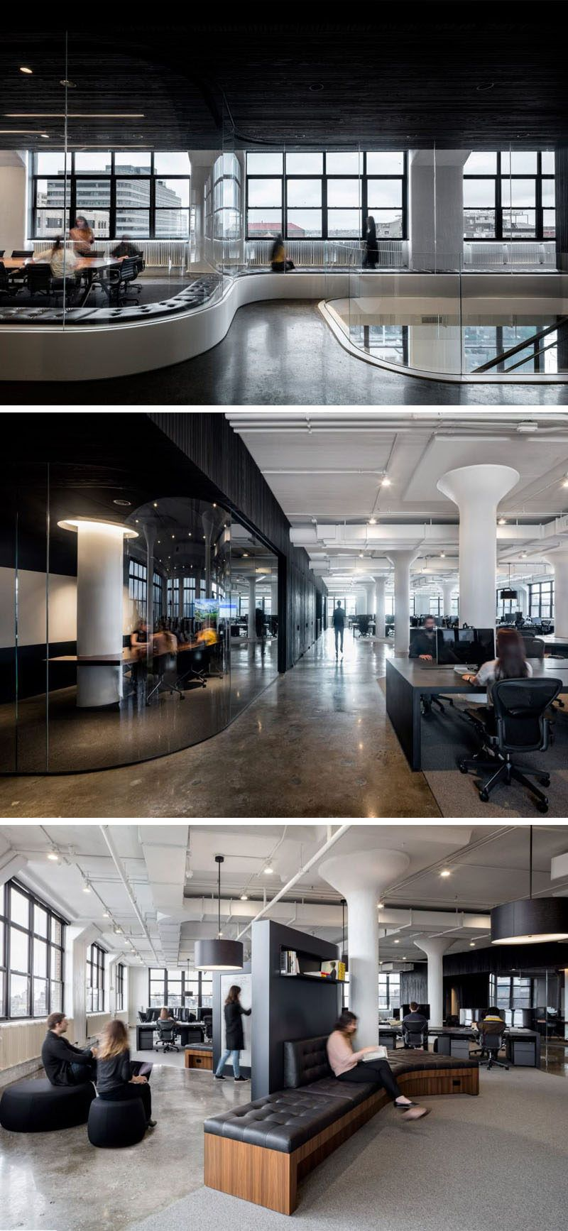 in this new york office space there s curved tinted glass areas with