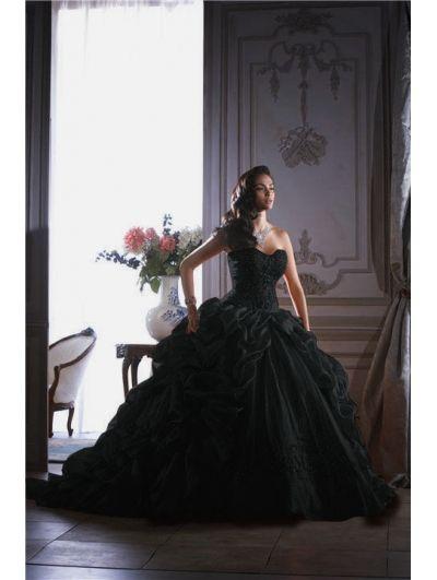 Black Ball Gown Gothic Wedding Dress - Devilnight.co.uk | Pretty ...
