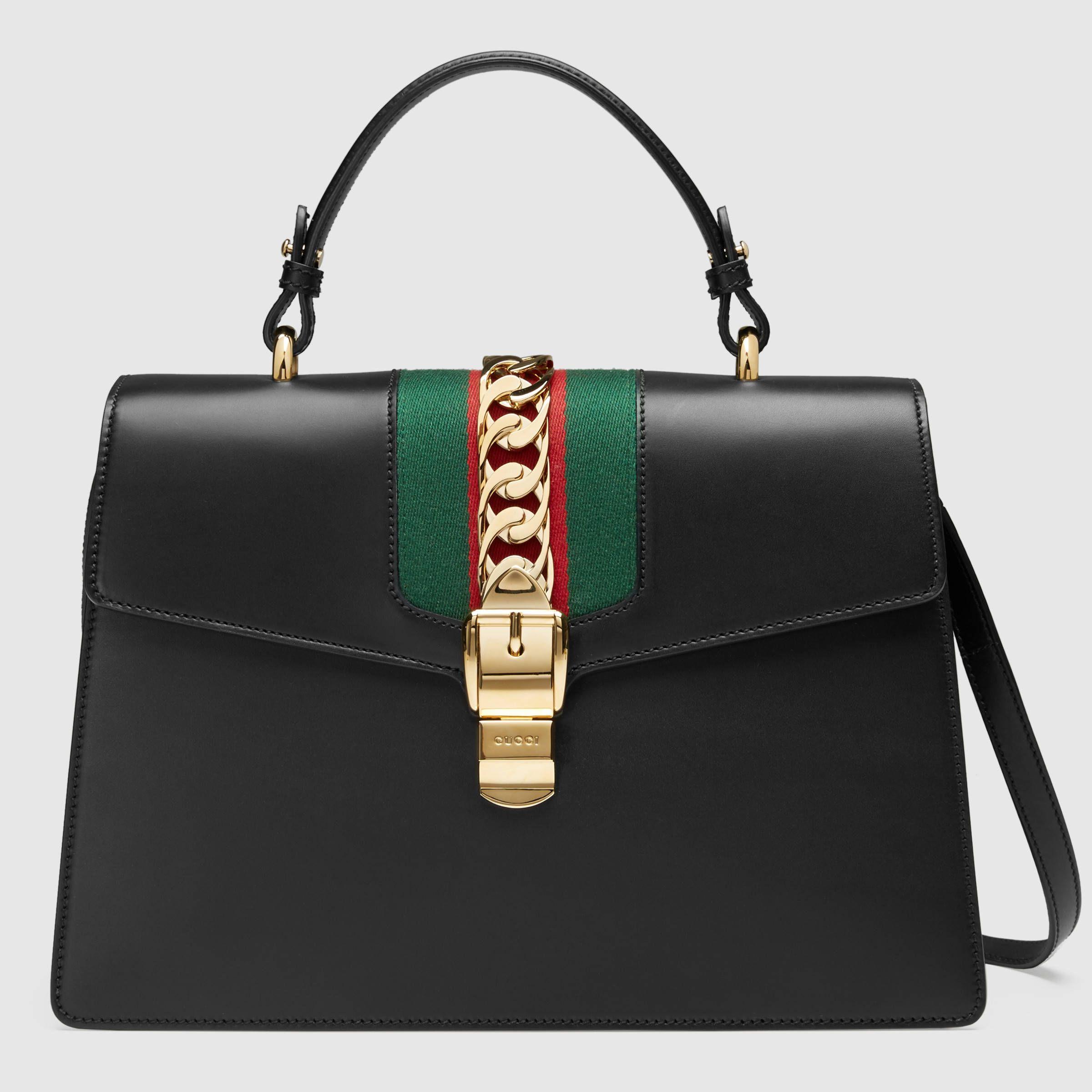 Gucci Donna - Borsa a mano Sylvie in pelle - 431665CVL1G1060 fcda2ae78059