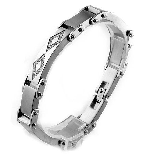 Stainless Steel Link Bracelet with 2 Jeweled CZ Diamond Shape engraved Stylejewelry http://www.amazon.com/dp/B0062QDX7I/ref=cm_sw_r_pi_dp_-9cVtb19SPCG44D0