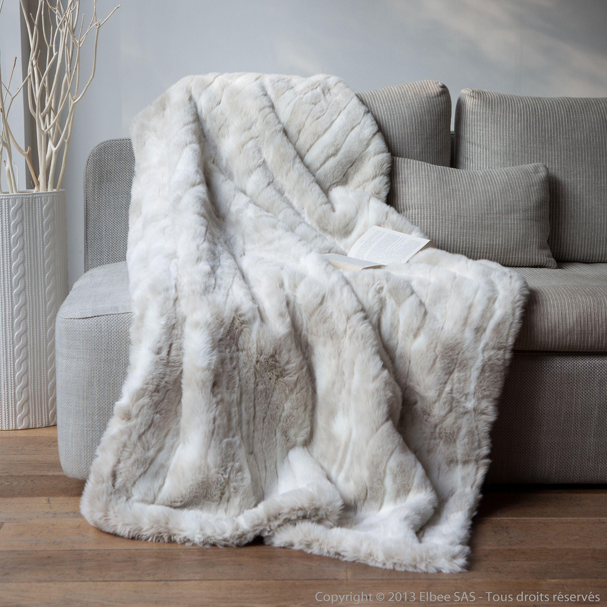 Plaid fausse fourrure loup blanc 140x180cm sweet home - Plaids fausse fourrure pour canape ...