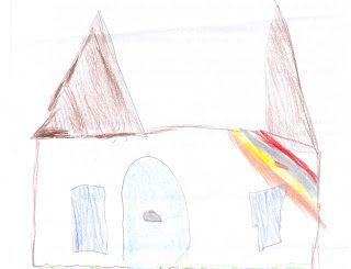 Esse desenho de um castelo foi feito por um aluno com Sindrome de Down