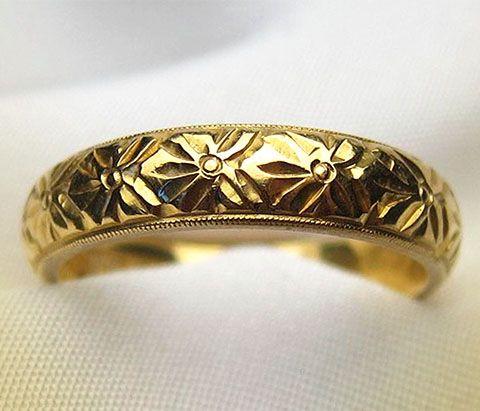 Circa 1926 Birmingham 22KT Gold Engraved Wedding Band