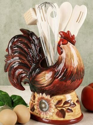 Rooster Utensil Keep Kitchen Decor