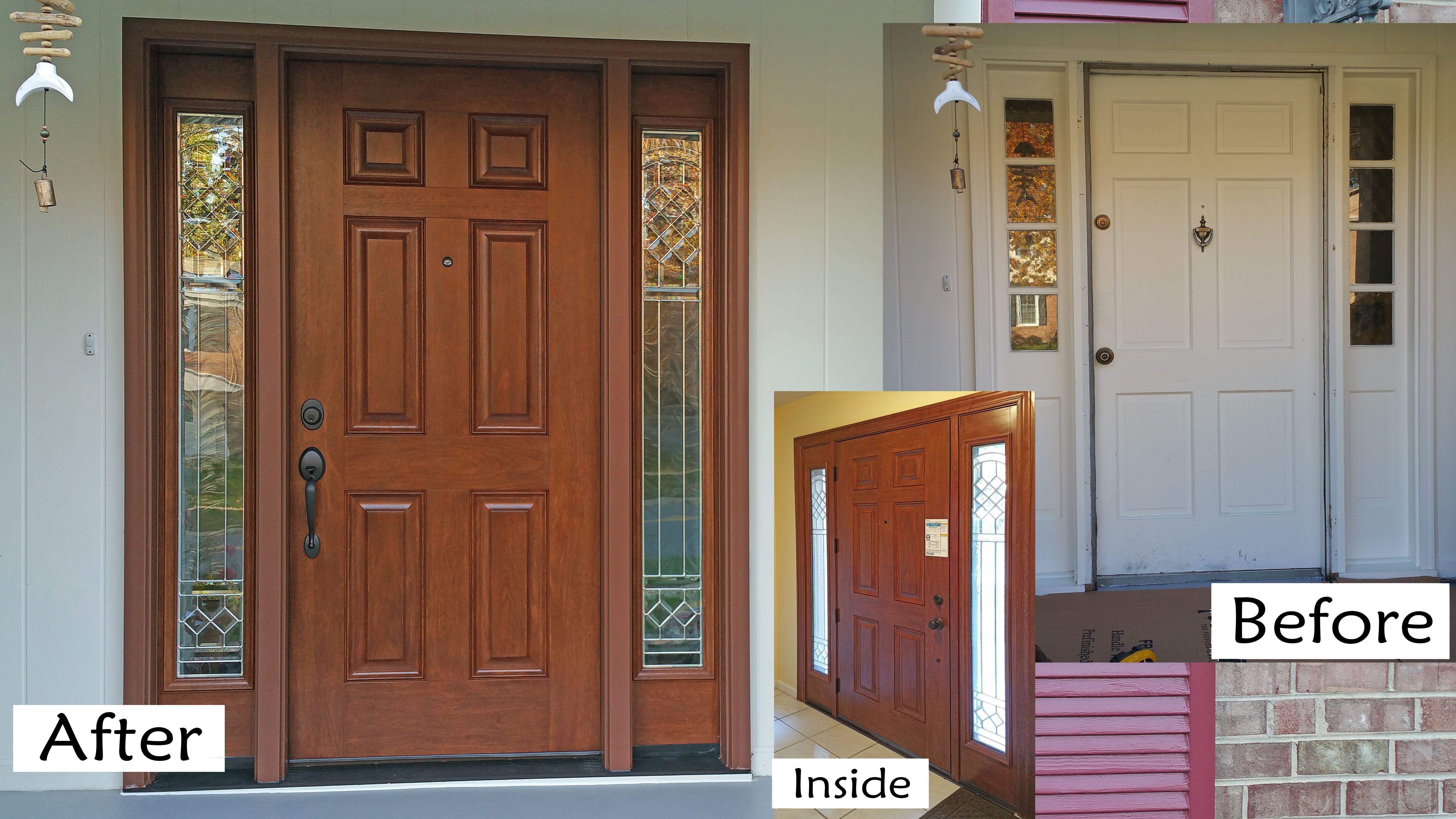 Provia Signet Mahogany Skin Fiberglass Door American Cherry Hand Stain Crystal Decorative Glass Side Lites With Zinc C Fiberglass Door Glass Decor Front Door