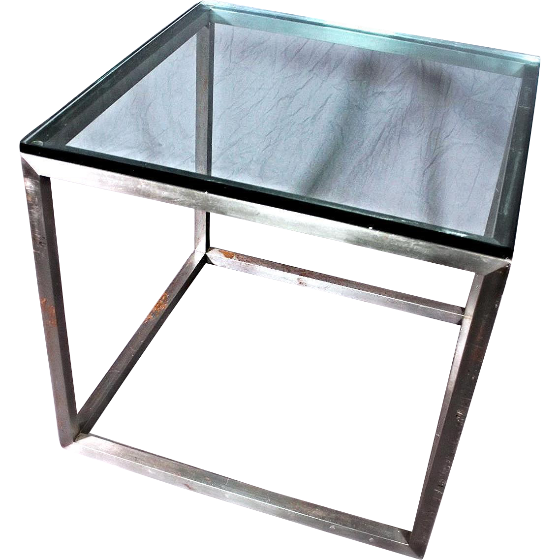 Modern glass end table  Mid Century Modern Large