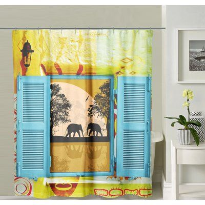 East Urban Home Botkin Shower Curtain Elephant Shower Curtains