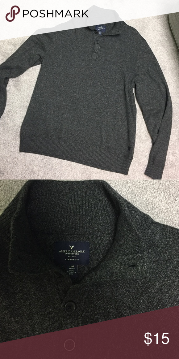 American eagle mock-neck sweater American eagle, men's dark heather gray mock neck sweater, size L, EUC, 100% cotton American Eagle Outfitters Sweaters