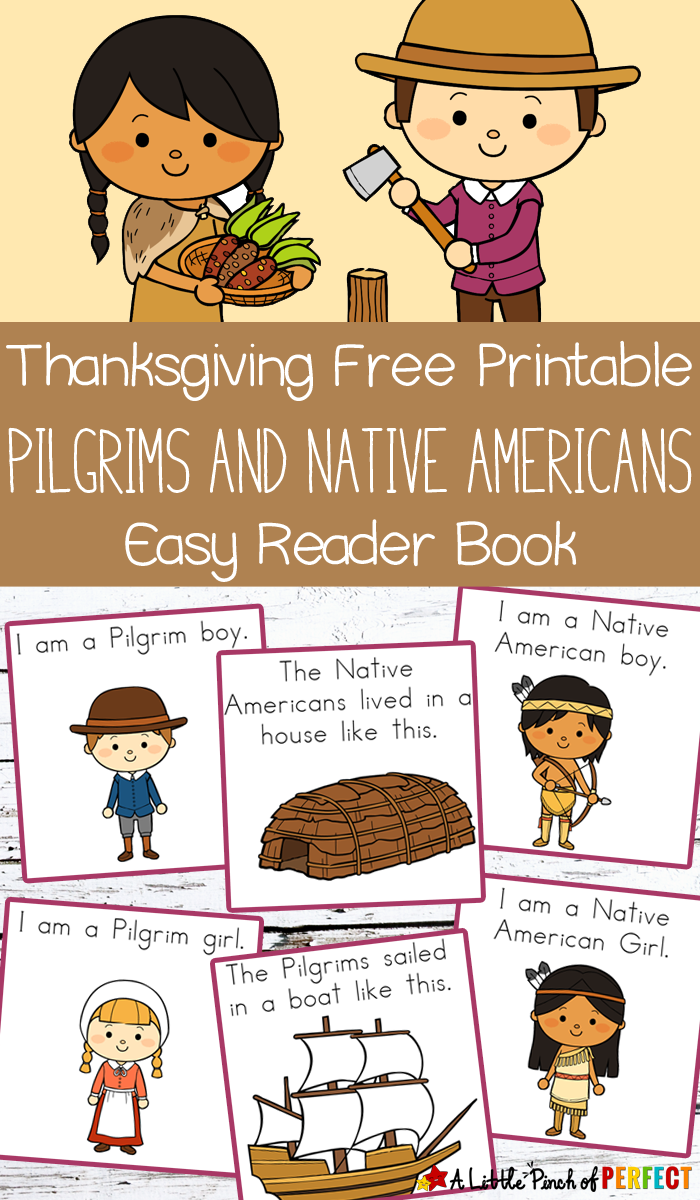 Thanksgiving Free Printable Easy Reader Book with Pilgrims