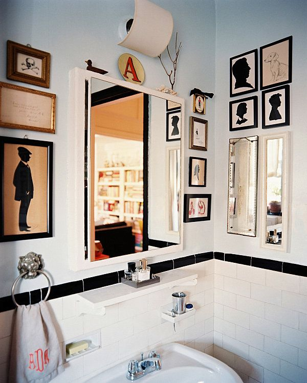 Kunstwerke Silhouette-Wandbilder Deko-für kleines-Bad Spiegel - kleine badezimmer gestalten