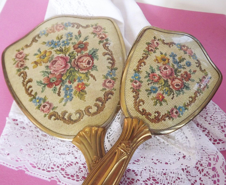 Vintage Dresser Set Vanity Set Hairbrush Hand Mirror Hair Brush