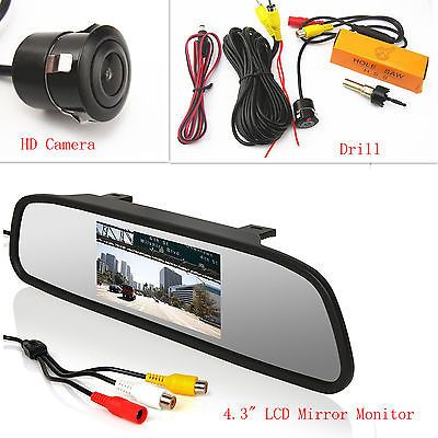 "Car SUV Reversing Rear View HD Camera & Drill & 4.3"" LCD Mirror Display Monitor"