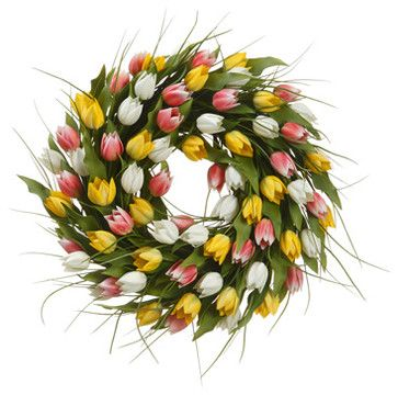 Silk Plants Direct French Tulip and Grass Wreath (Pack of 1) traditional-plants