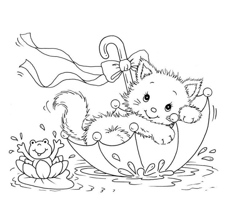 Kinder Malvorlagen Tiere Katze Frosch Regenschirm Ausmalbilder Katzen Ausmalbilder Kinderfarben