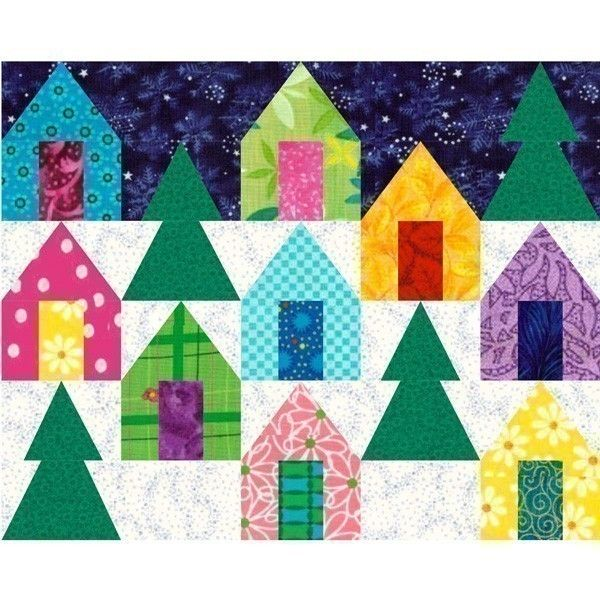 Cozy Cabins paper pieced quilt block pattern pdf available