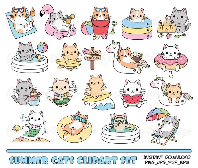 Cute Cat Clipart Set Summer Cats Beach Pool Party Digital Clipart Funny Cat Kawaii Printable Stickers Planner Supplies Vacation Illustration Cat Clipart Cat Stickers Clip Art