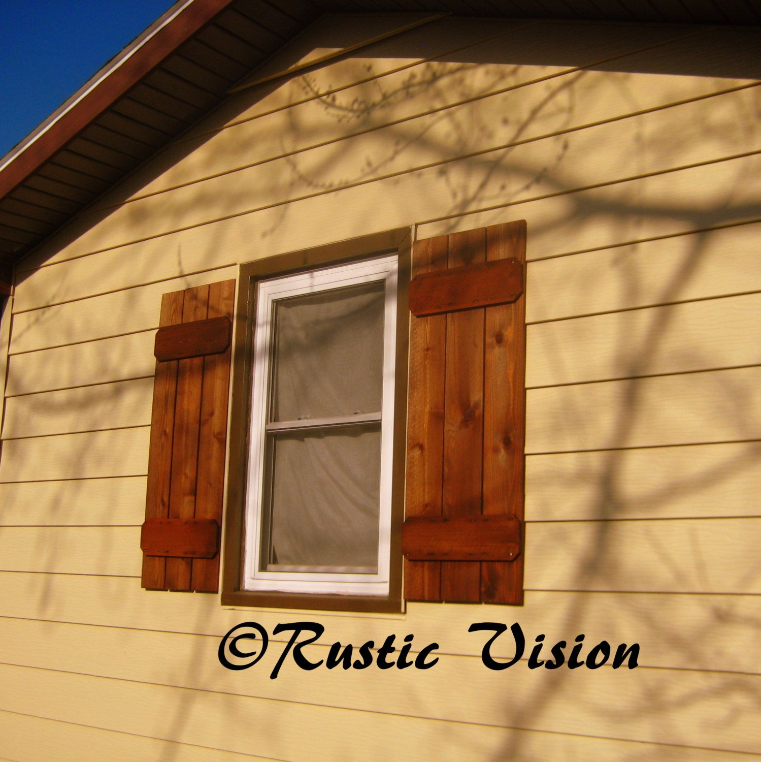 Cedar exterior window shutters set of 2 by rusticvision on - Exterior wooden shutters for windows ...
