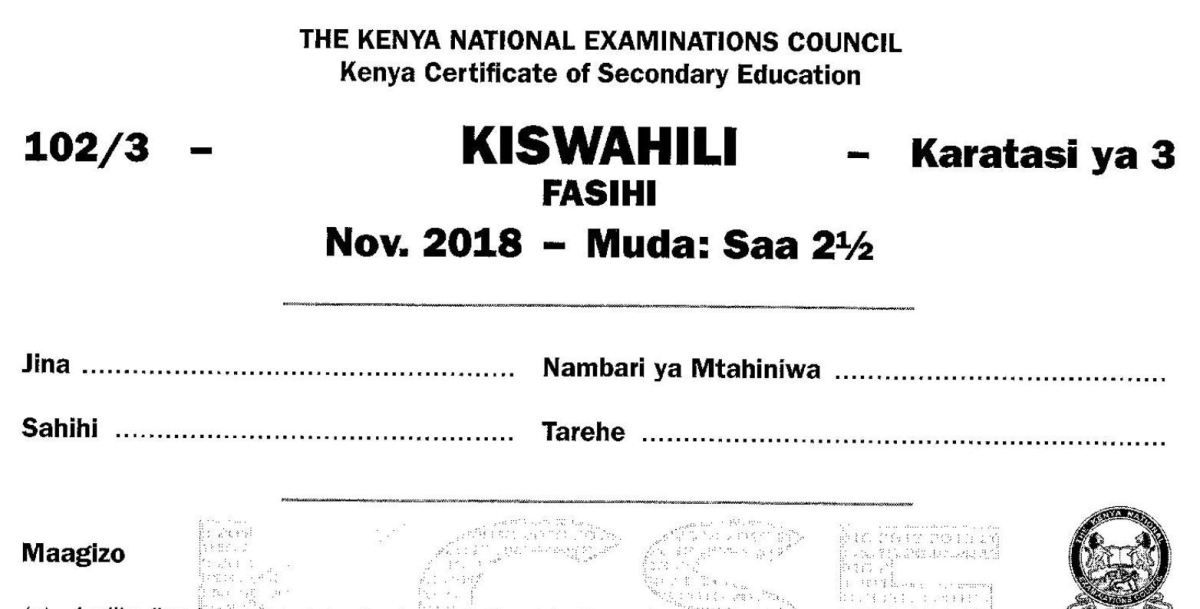 Kcse kiswahili paper 1 2018 with knec marking scheme answers – Artofit