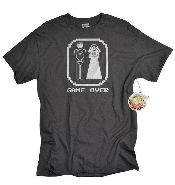 Funny T-shirt Wedding Bachelor Party Gift Tuxedo Dress Bride Groom Tee Game Over