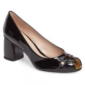 Stuart Weitzman Tabeta Patent Leather Peep-Toe Shoe (Women's)