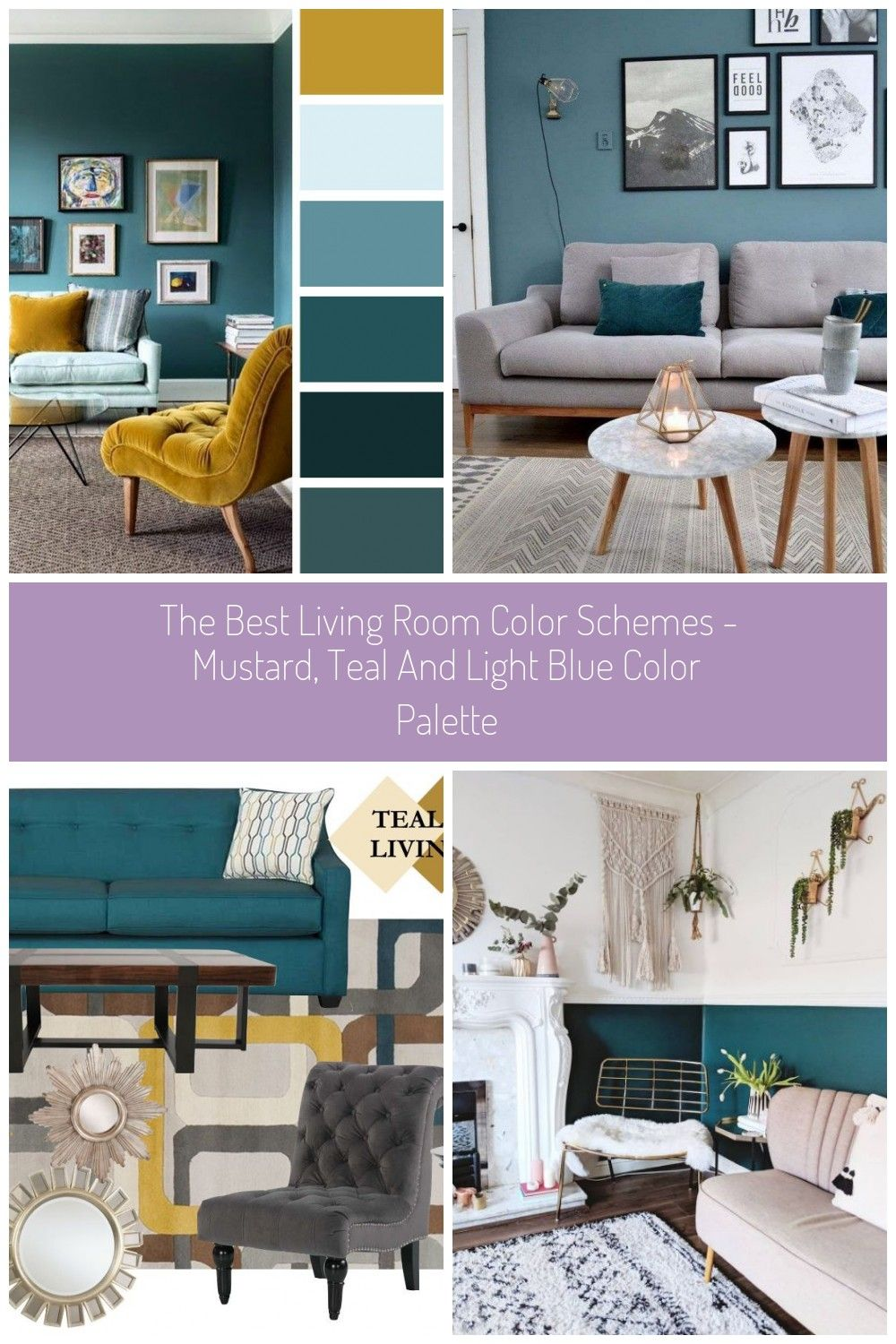The best living room color schemes - Mustard, Teal and ...