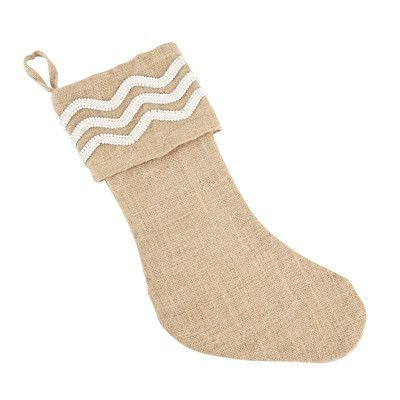 Saro Beaded Burlap Stocking