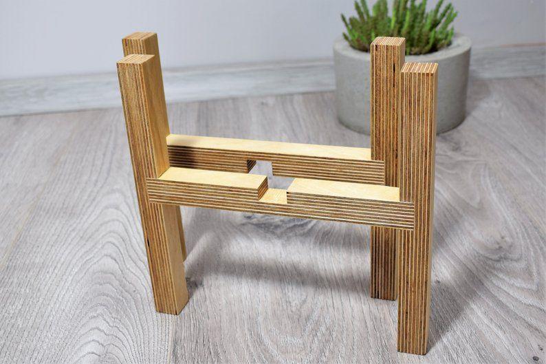 Minimalist modern plant stand of birch plywood, Indoor plant stand, Plant Stand, Planter Holder