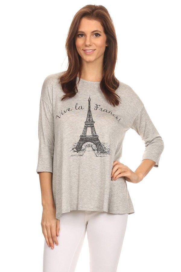 Vive La France tee HEATHER GREY - orangeshine.com