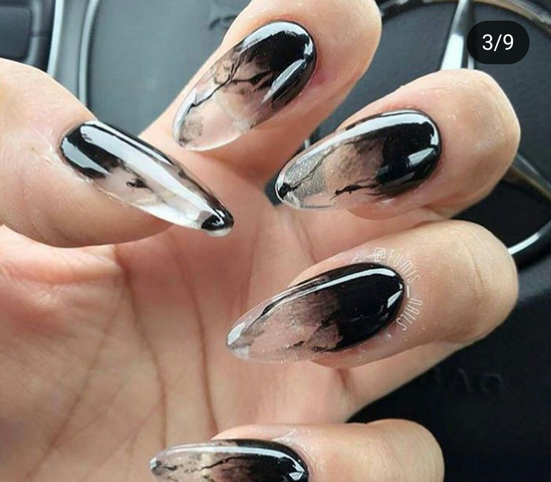 Amazing Black Smoke Nails