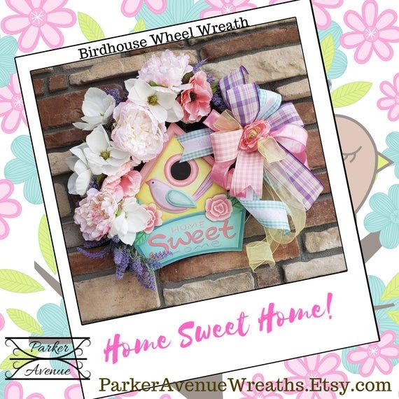 Photo of Spring Wreath, Wheel Wreath, Home Sweet Home Wreath, Birdhouse Magnolia Wreath, Welcome Wreath, Ever