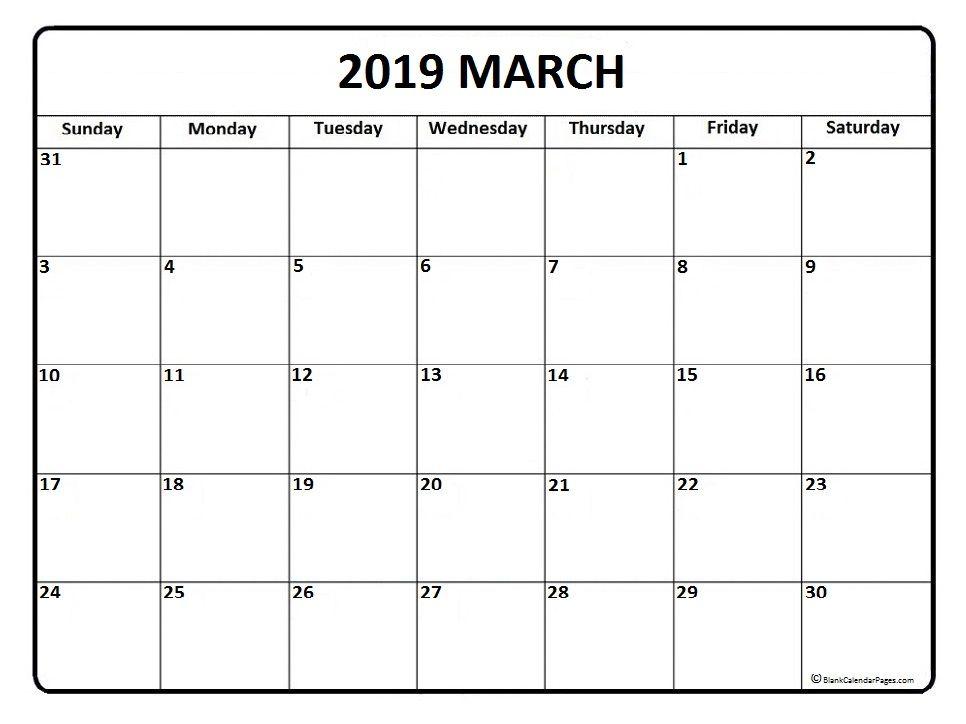 Blank Calendar March 2019 150 March 2019 Calendar Pinterest