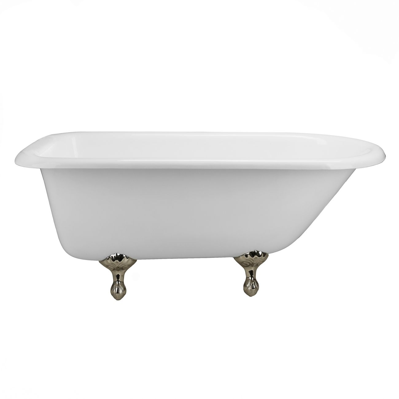 Heritage 54 inch cast iron classic clawfoot tub - no faucet drillings