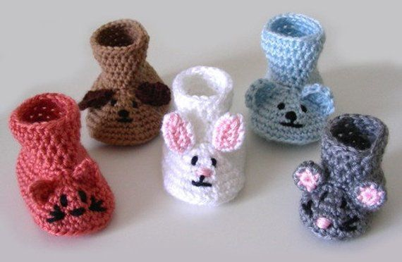 bf9d702fe1917 Animal Baby Booties - PDF Crochet Pattern - Instant Download ...
