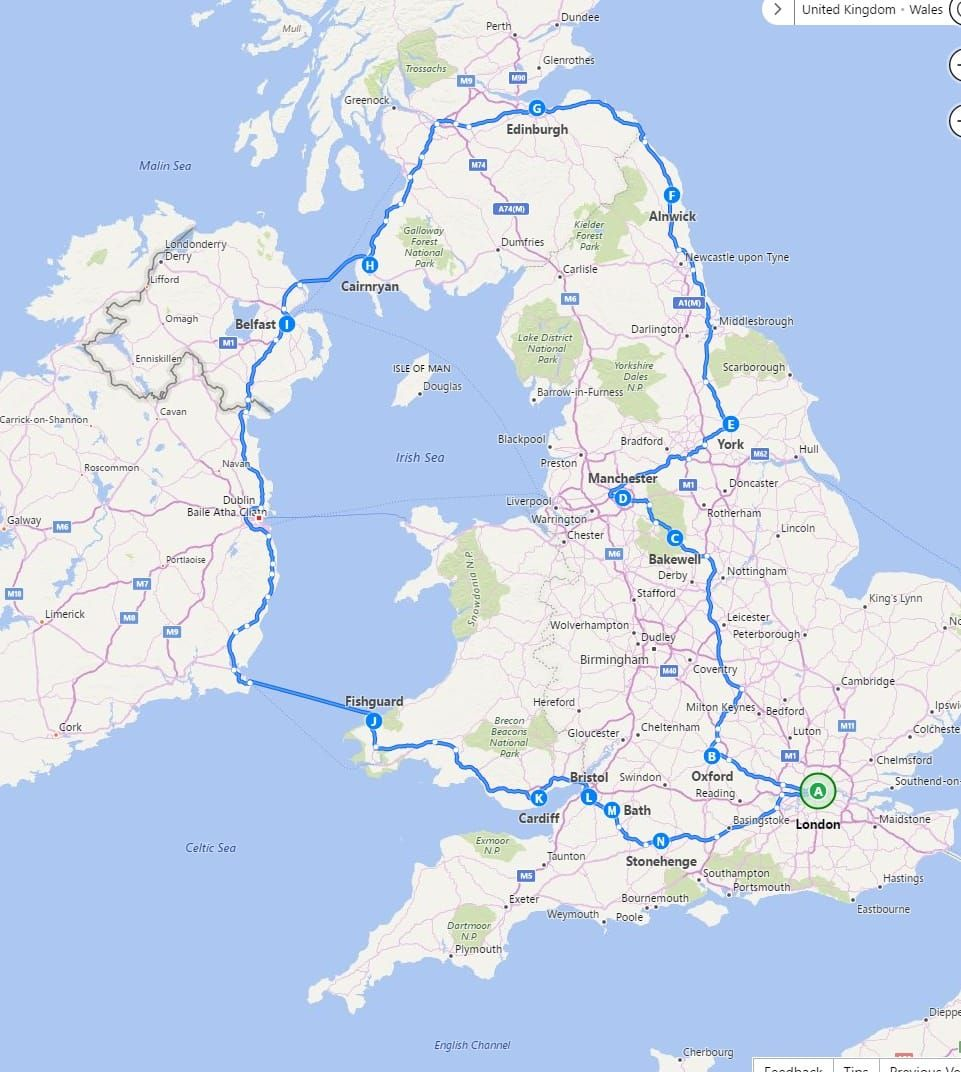 A detailed two week itinerary for a trip around the UK