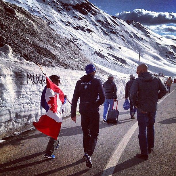 Ryder walking on the Stelvio.