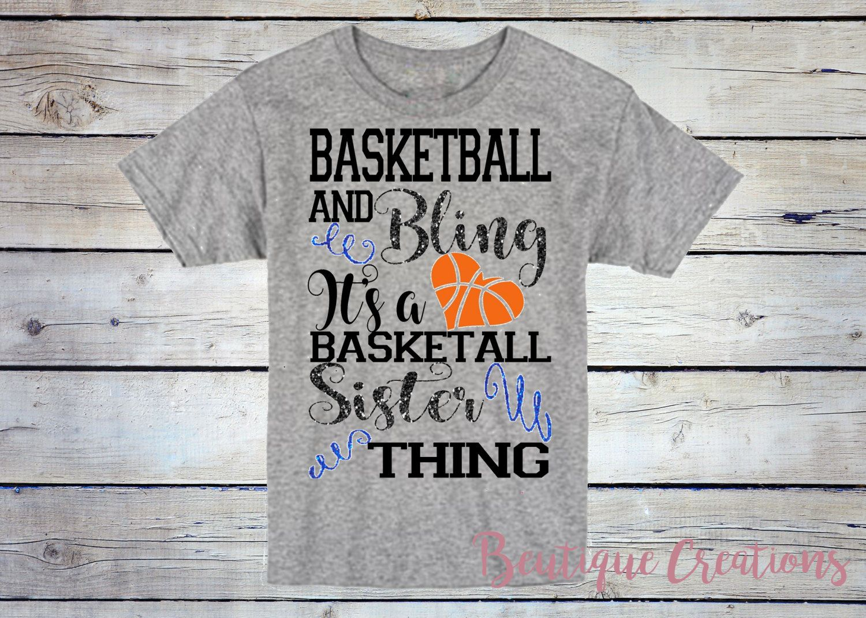 HIS Little Sister Rhinestone on Kid/'s T-Shirt Sport Basketball Biggest Fan