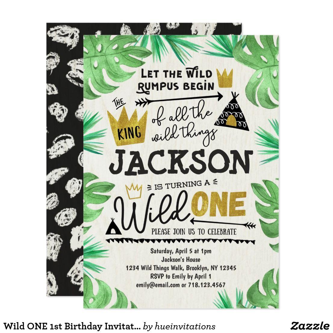 Wild One 1st Birthday Invitation Boy Wild Things Zazzle Com 1st Birthday Invitations Boy Boy Birthday Invitations 1st Birthday Invitations