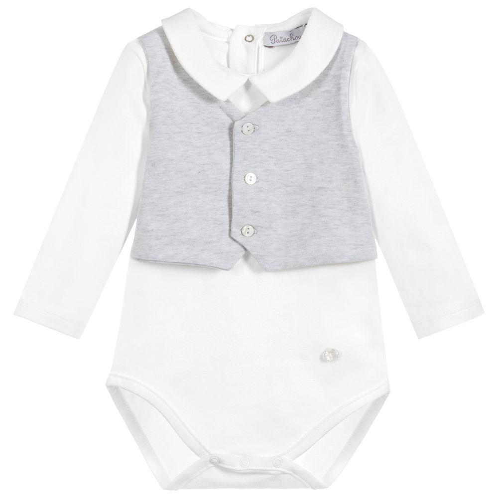 6dc91aca04e7 Baby Boys Grey Cotton Bodysuit