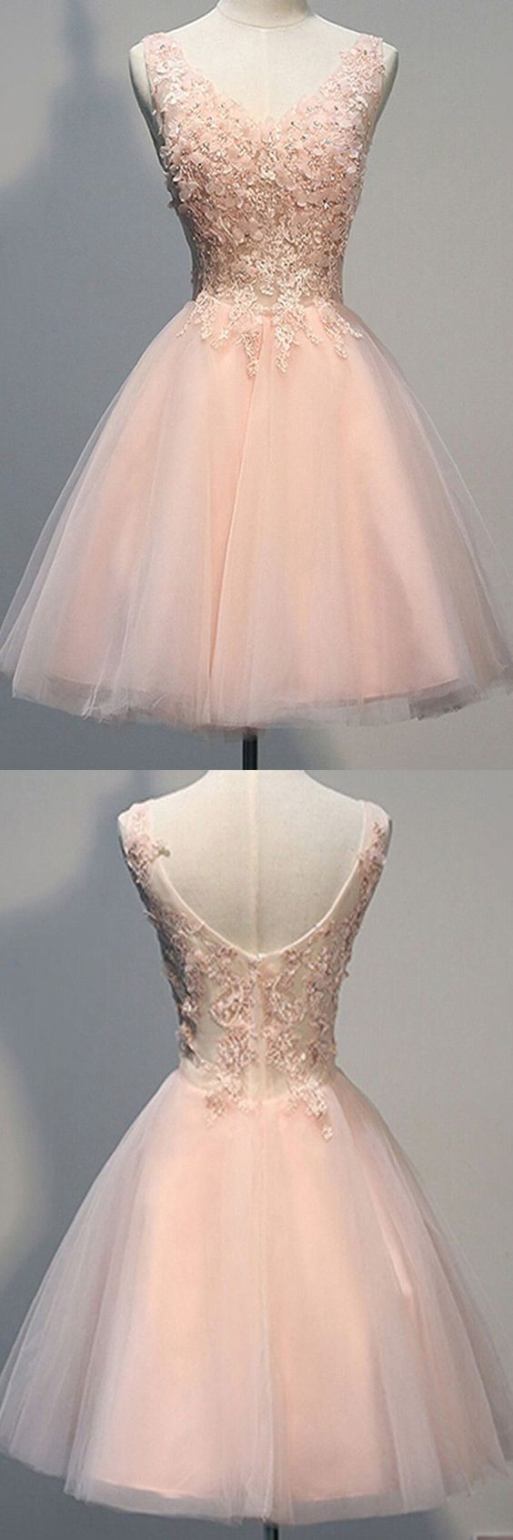 Awesome vneck sleeveless kneelength pearl pink open back