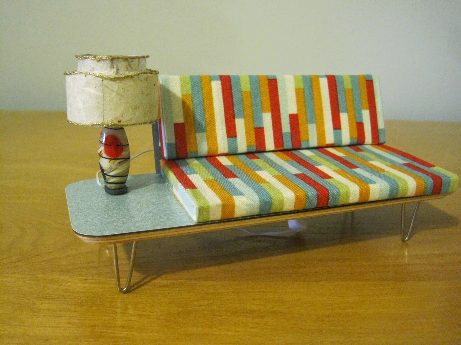 mid century modern dollhouse furniture. Scale Mid-Century Modern Sofa With Attached End Table For A Dollhouse Mid Century Furniture